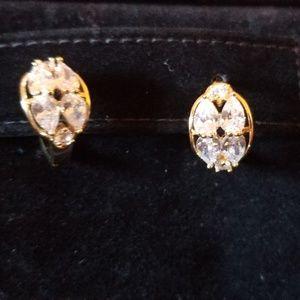 Brazilian Yellow Gold CZ Filled Huggie Earrings